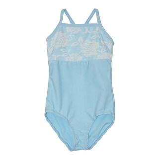 Girls Blue Rose Lace Detail Camisole Dancewear Leotard