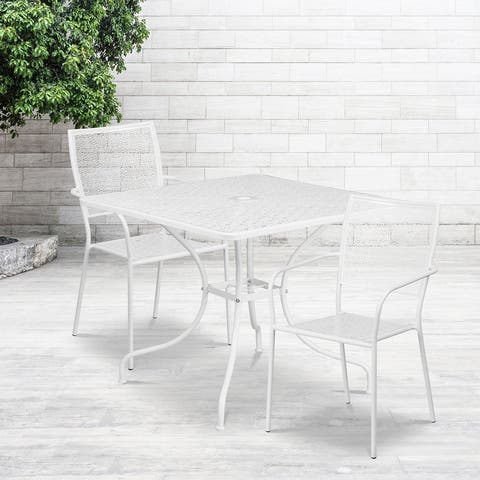 """35.5"""" Square Black Indoor-Outdoor Steel Patio Table Set w/ 2 Square Back Chairs"""