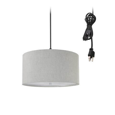 """2 Light Swag Plug-In Pendant 14""""w Textured Oatmeal with Diffuser, Black Cord"""
