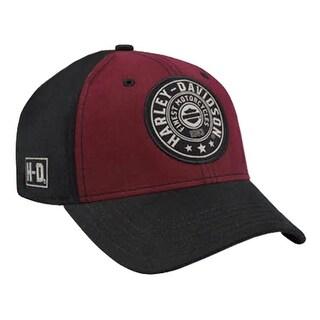 Harley-Davidson Men's Embroidered Harley Shield Baseball Cap, Red/Black BCC27881