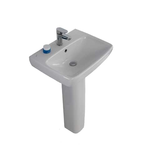 "Bissonnet E14241-54920 Energy 22"" Rectangular Vitreous China Pedestal Bathroom Sink with Overflow and One Faucet Hole - White"