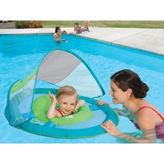 "36"" Aqua Blue and Green Swimming Pool Step 1 Baby Spring Float with 50 UPF Sun Canopy"