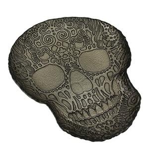 Champagne Gold Metallic Foil Finish Glass Art Skull Shaped Tray 13 Inch