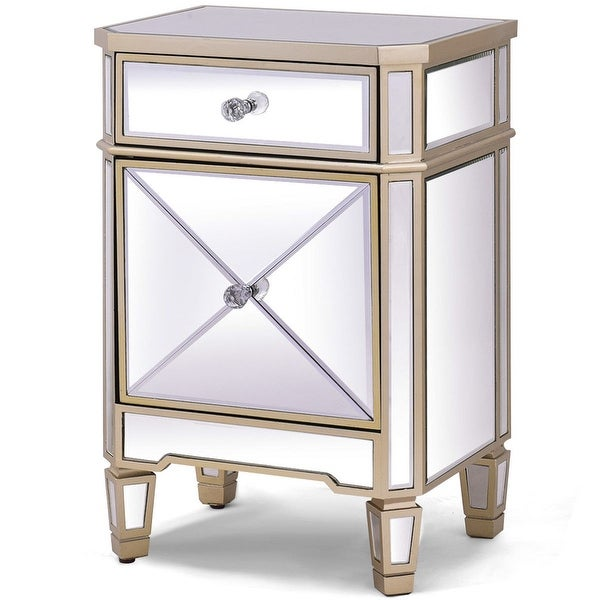 Costway Modern Mirrored Nightstand Storage Accent Cabinet Table Chest Drawer