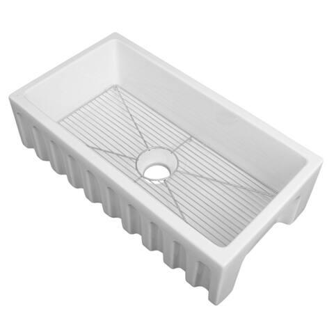 ZLINE Farmhouse Single Bowl Fireclay Sink with Bottom Grid