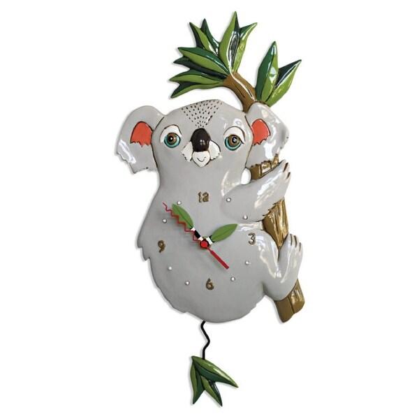 Allen Designs Koolah Koala on Bamboo Branch Pendulum Wall Clock Battery Operated