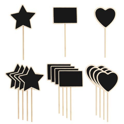 15pcs Wood Mini Chalkboard Signs Tags with Supporter for Parties Board Signs - Black