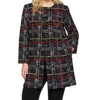 Nine West Black Womens Size 14W Plus Topper Plaid-Print Jacket