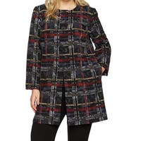 Nine West Black Womens Size 16W Plus Plaid Print Open Front Jacket