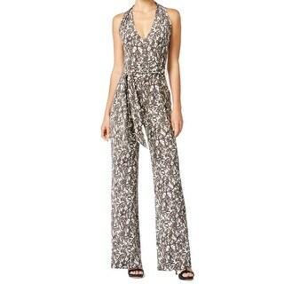 Michael Kors NEW Black Womens Size Medium M Lace-Print Belted Jumpsuit