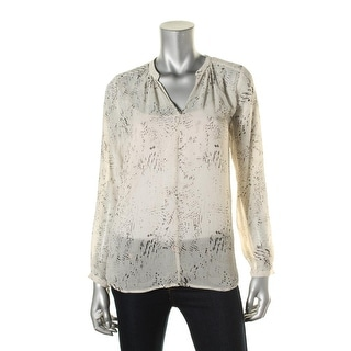 Two by Vince Camuto Womens Chiffon Printed Blouse