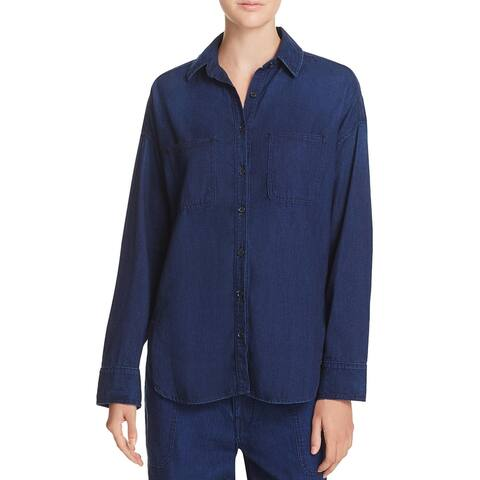 Vince Womens Button-Down Top Flannel Long Sleeves