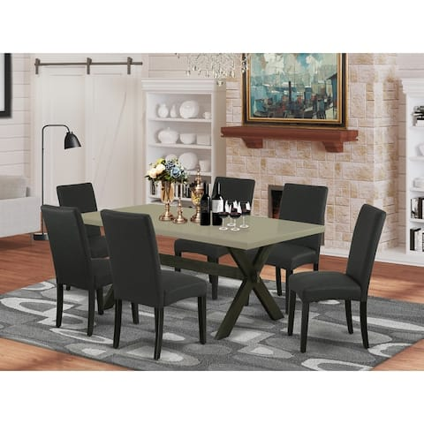 East West Furniture Dining Set Included Parson Chair and Rectangular Cement Table-Wirebrushed Black Finish-DR124