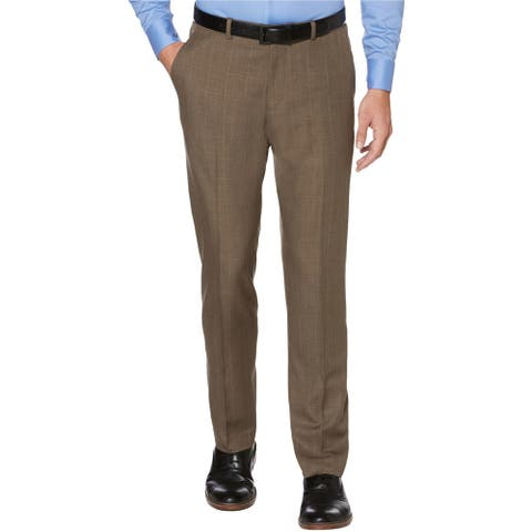 Perry Ellis Mens Portfolio Dress Pants Slacks, Brown, 34W x 34L