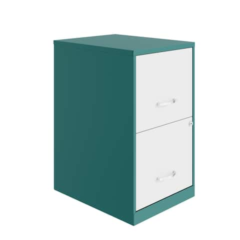 Space Solutions 18in. 2 Drawer Metal File Cabinet, Teal
