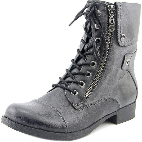G By Guess Banks Women Round Toe Synthetic Black Combat Boot
