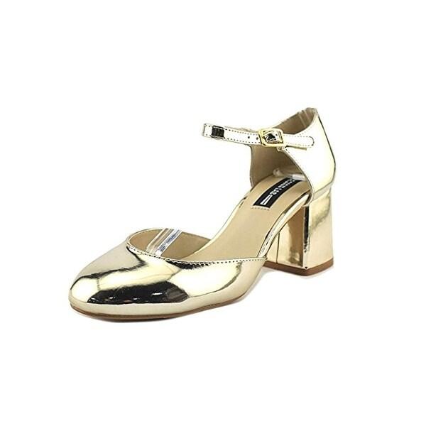 Design Lab Womens Mia Block Heels Metallic Ankle