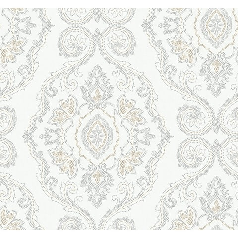 Seabrook Designs Beach House Nautical Damask Unpasted Wallpaper