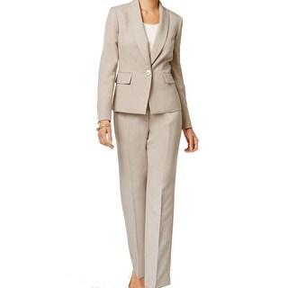 Le Suit NEW Beige Straw Women's Size 8 Single-Button Pant Suit Set