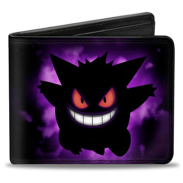 Gengar Silhouette Pose + Logo Purple Fade Black Bi Fold Wallet - One Size Fits most