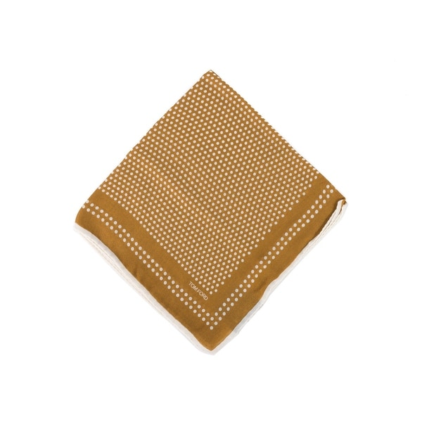 Tom Ford Mens Tan Brown Polka Dot Pocket Square