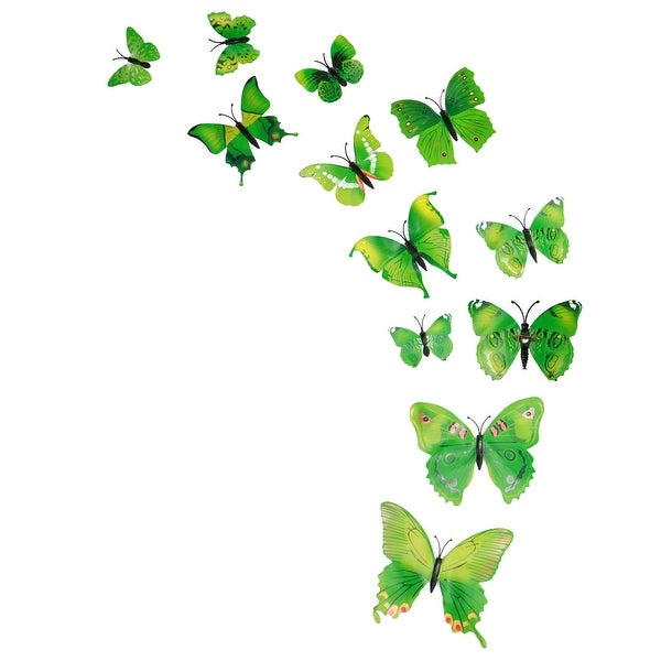 12pcs 3D Butterfly Vivid Decal Sticker with Pin for Wedding Party Decor Green