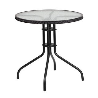 Skovde Round 28'' Tempered Glass Metal Table Black Rattan Edging for Patio/Bar