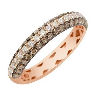 Prism Jewel 0.86Ct Brown Color Diamond & Diamond Wedding Band - White G-H