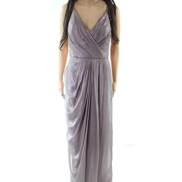 Vera Wang Quartz Women's Gown Pleated V-Neck Dress