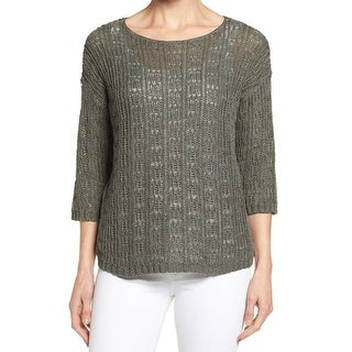 Eileen Fisher NEW Green Womens Size XL Bateau Knit Pullover Sweater