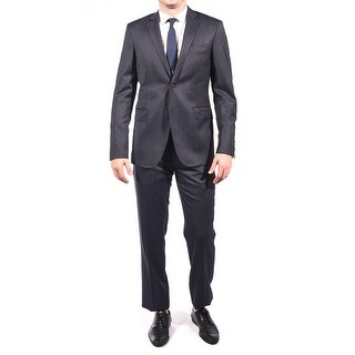 Pierre Balmain Wool Two Button Suit Black Dark Navy