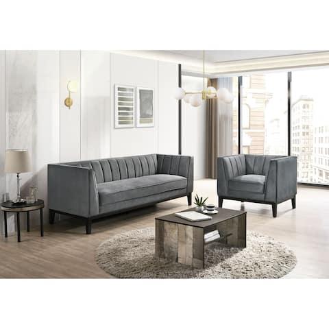 Picket House Furnishings Calabasas 2PC Living Room Set in Light Grey