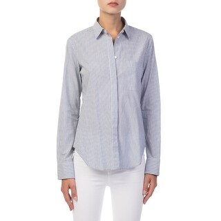 Vince NEW Blue Womens Size 0 Striped Chest Pocket Button Down Blouse