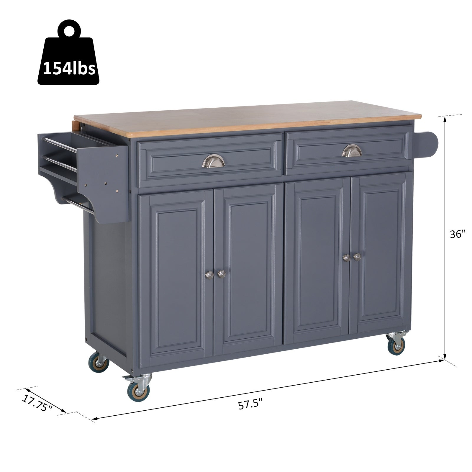 Shop Black Friday Deals On Homcom Rolling Oak Drop Leaf Kitchen Island Cart W Grey Butcher Block Overstock 29812850