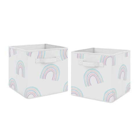 Sweet Jojo Designs Pastel Rainbow Collection Foldable Fabric Storage Bins - Blush Pink, Purple, Teal, Blue and White