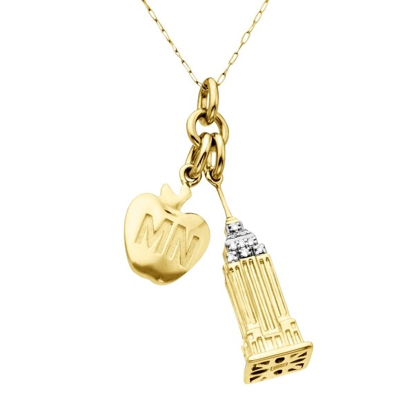 Manhattan Collection: Empire State Building & Big Apple Charm Pendant in 14K Gold with Diamonds