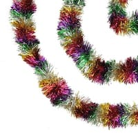 50' Festive Shiny Rainbow Colored Christmas Foil Tinsel Garland - Unlit - 8 Ply (Pack of 3) - Multi