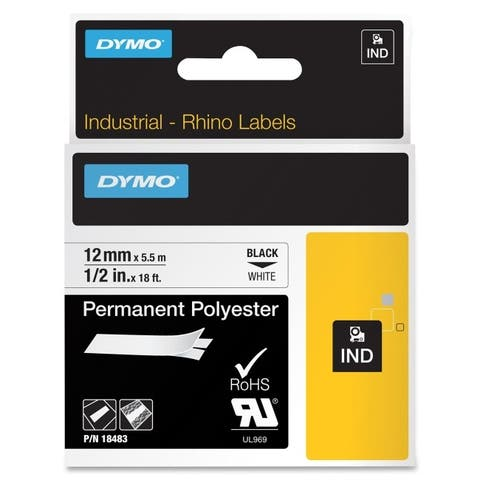 Dymo 18483 dymo rhino 1/2in x 18ft, white permanent poly labels