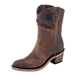 Old West Fashion Boots Girl High Heel Leather Sole Zipper Brown CF8281