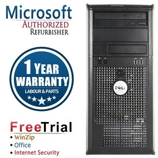 Refurbished Dell OptiPlex 380 Tower Intel Core 2 Quad Q8200 2.33G 4G DDR3 320G DVD Win 7 Home 64 Bits 1 Year Warranty - Silver