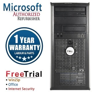 Refurbished Dell OptiPlex 740 Tower AMD Athlon 64 x2 3800+ 2.0G 4G DDR2 320G DVD WIN 10 Pro 64 Bits 1 Year Warranty - Black