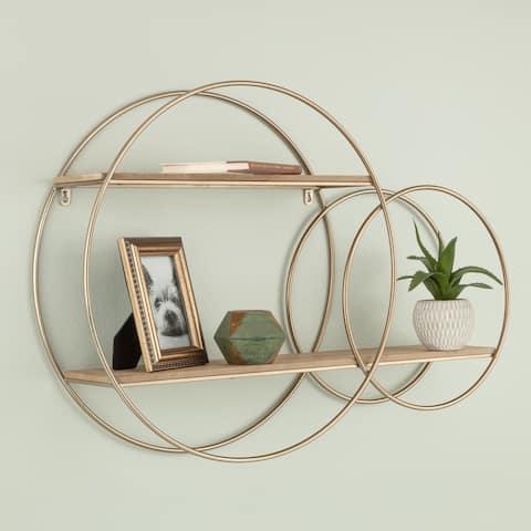 2 Tier Round Wall Shelf Rustic Wood and Gold Decorative Shelf Unit