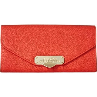 Versace Womens Leather Convertible Crossbody Handbag - coral/light gold - SMALL