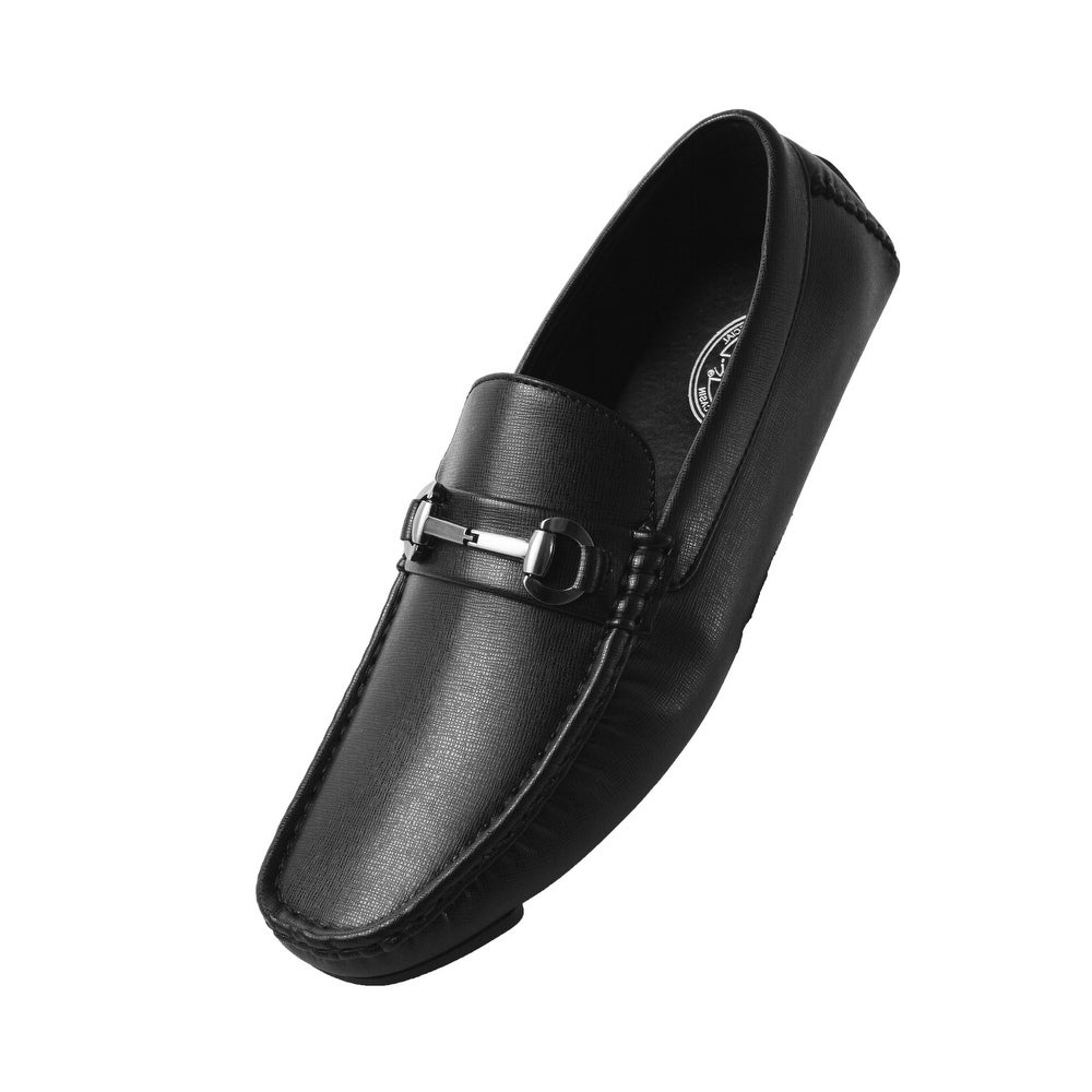 ziitop Penny Loafers for Mens Leather Casual Slip On Driving Shoes Breathable Moccasins Boat Shoes Lightweight Flats Walking Shoes Black