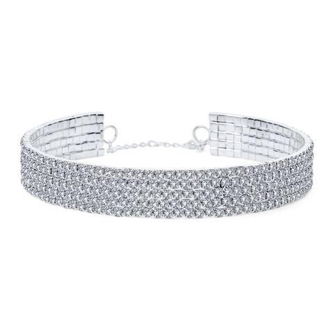 Classic 5 Row Rhinestone Statement Bridal Choker Necklace Adjustable