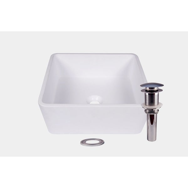 JANO Matte White Square Resin Vessel Bathroom Sink With Popup Drain