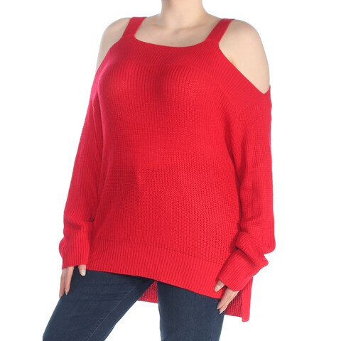 SANCTUARY Womens Red Cold Shoulder High Low Long Sleeve Sweater Size: XL