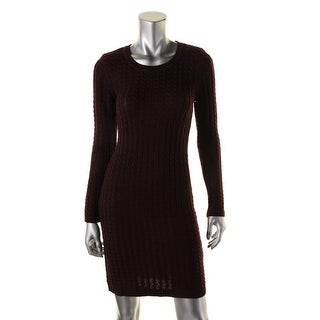 Calvin Klein Womens Petites Sweaterdress Cable Knit Long Sleeves