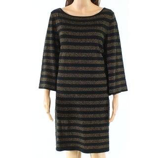 Trina Turk Womens Large Striped Shimmer Sheath Dress