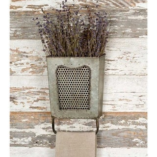 Galvanized Iron Wall Box With Towel Bar, Gray